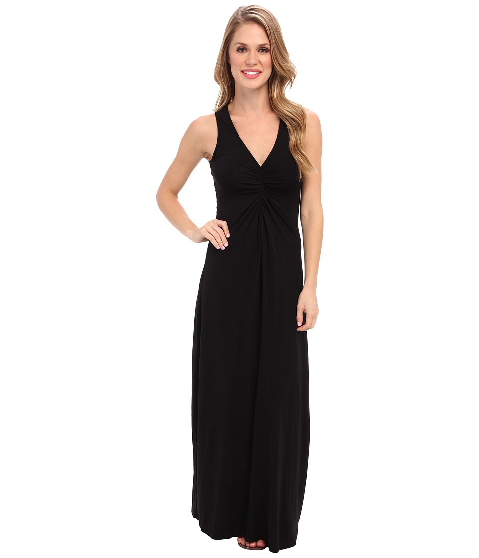 Mod-o-doc - Cotton Modal Spandex Jersey Shirred Front V-Neck Maxi Dress (Black) Women