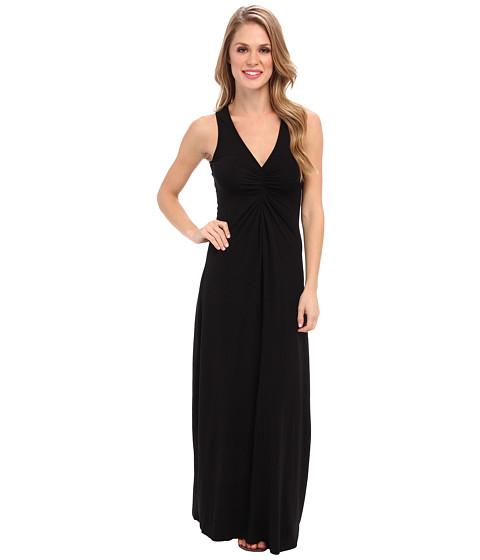 Mod-o-doc - Cotton Modal Spandex Jersey Shirred Front V-Neck Maxi Dress (Black) Women