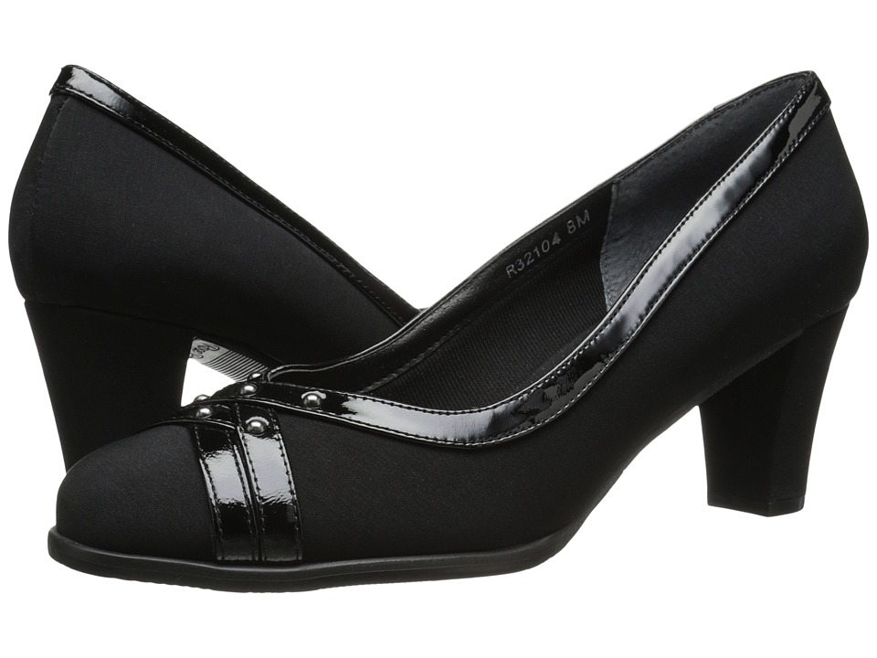Rose Petals - Chloe (Black Micro/Black Patent) Women's Shoes