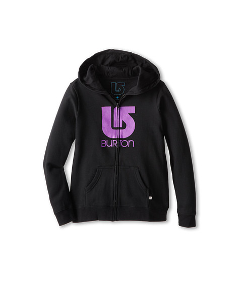 Burton Kids - Logo Vertical Full Zip Hoodie (Little Kids/Big Kids) (True Black) Girl's Sweatshirt
