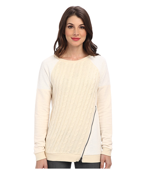 Sanctuary - Cable Pullover Crewneck Sweatshirt (Ivory) Women