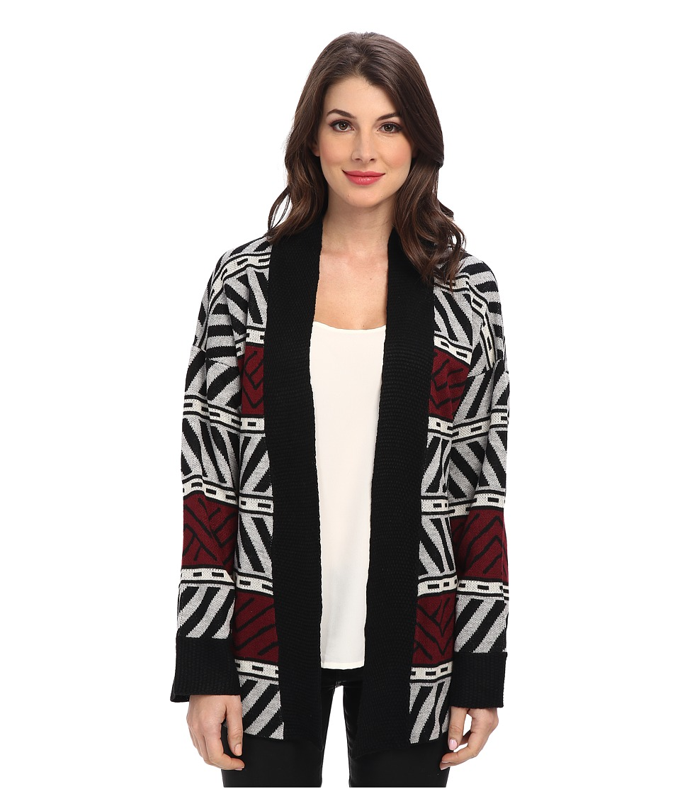Sanctuary - Graphic Loom Cardi (Charcoal/Port) Women's Sweater