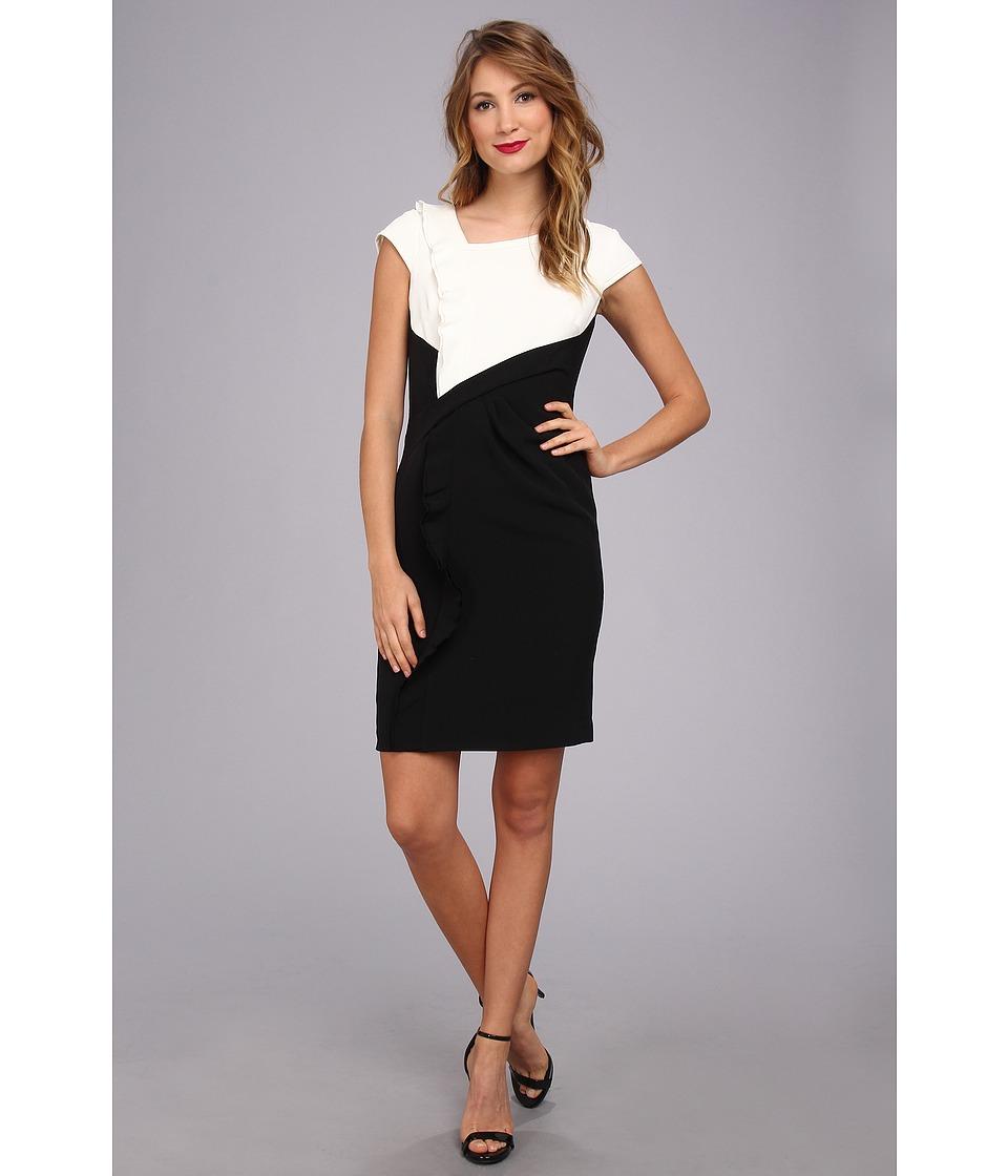 Adrianna Papell - Ruffle Front Drape Sheath Dress (Ivory/Black) Women