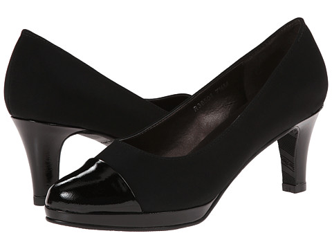 Rose Petals - Plus (Black Micro/Black Softy Patent) Women's Shoes