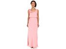 Adrianna Papell Blouson Irri Chiffon Gown w/ Rosette (Bridesmaid) (Tea Rose)