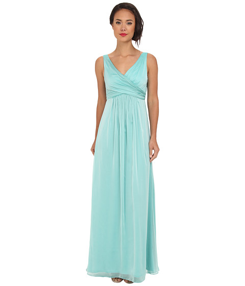 Adrianna Papell - V-Neck Chiffon Gown (Spearmint) Women's Dress