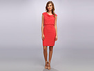 Adrianna Papell Cap Cowl Banded Blouson Dress (Coral) Women's Dress
