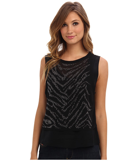Rebecca Taylor - Sleeveless Tiger Studded Top (Black) Women