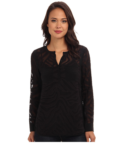 Rebecca Taylor - Long Sleeve Liger Clip Double Pocket Top (Off Black) Women's Blouse