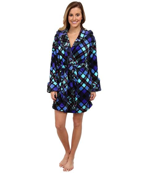 Steve Madden - Plush Wrap - L/S (Purple Plaid) Women's Robe
