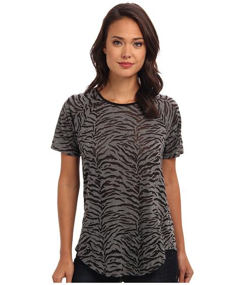 Rebecca Taylor - Short Sleeve Tiger Burnout Top (Grey) Women