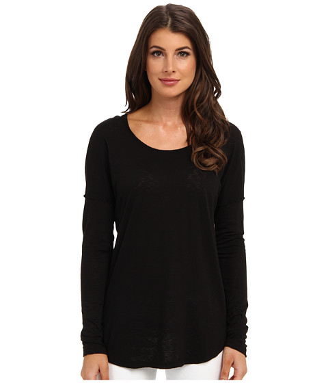 LAmade - L/S V Back Top (Black) Women's Long Sleeve Pullover