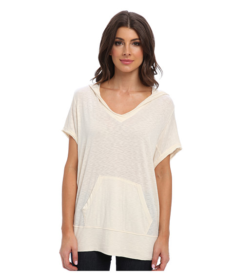 LAmade - S/S Lounge Hoodie (Cream) Women's Short Sleeve Pullover