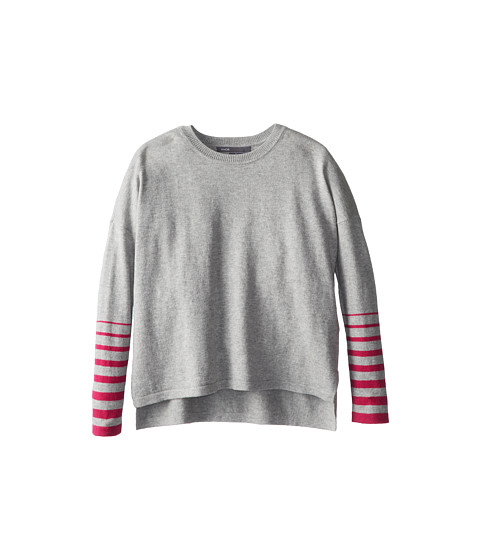 Vince Kids - Side Split Crew Neck (Little Kids) (Heather Grey) Girl's Clothing