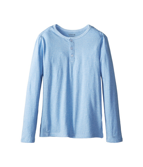 Vince Kids - L/S Henley (Big Kids) (Blue Ice Stripe) Boy