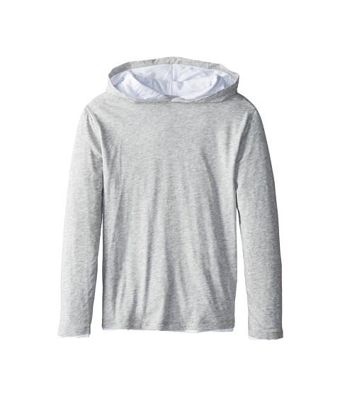 Vince Kids - L/S Double Layer Hoodie (Big Kids) (Heather Grey) Boy's Sweatshirt
