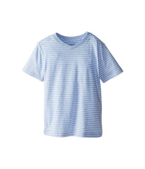 Vince Kids - Favorite V-Neck Tee (Big Kids) (Mist Blue Heather Stripe) Boy's Short Sleeve Pullover
