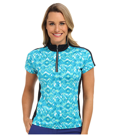 Tail Activewear - Celeste Performance Jersey Mock Neck (Blue) Women's Short Sleeve Pullover