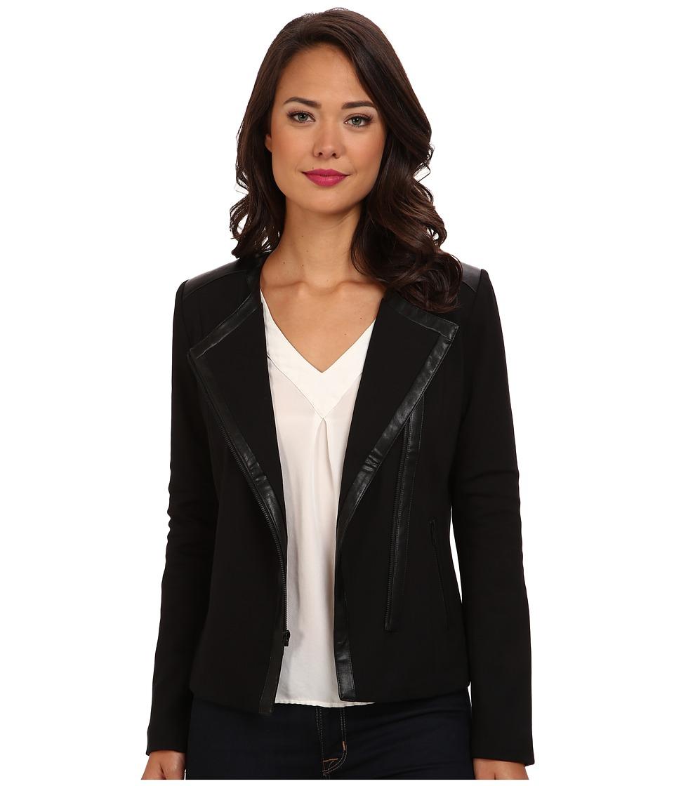 NYDJ - Ponte Faux Leather Moto Jacket (Black) Women