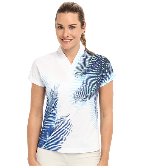 Tail Activewear - Sammy Cap Sleeve Top (White/Blue) Women's Short Sleeve Knit