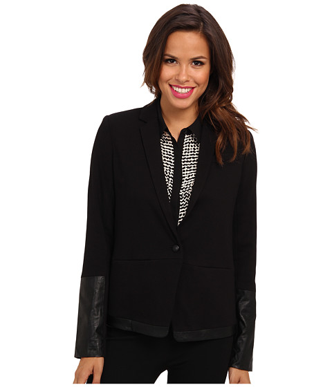NYDJ - Ponte Faux Leather Blazer (Black) Women