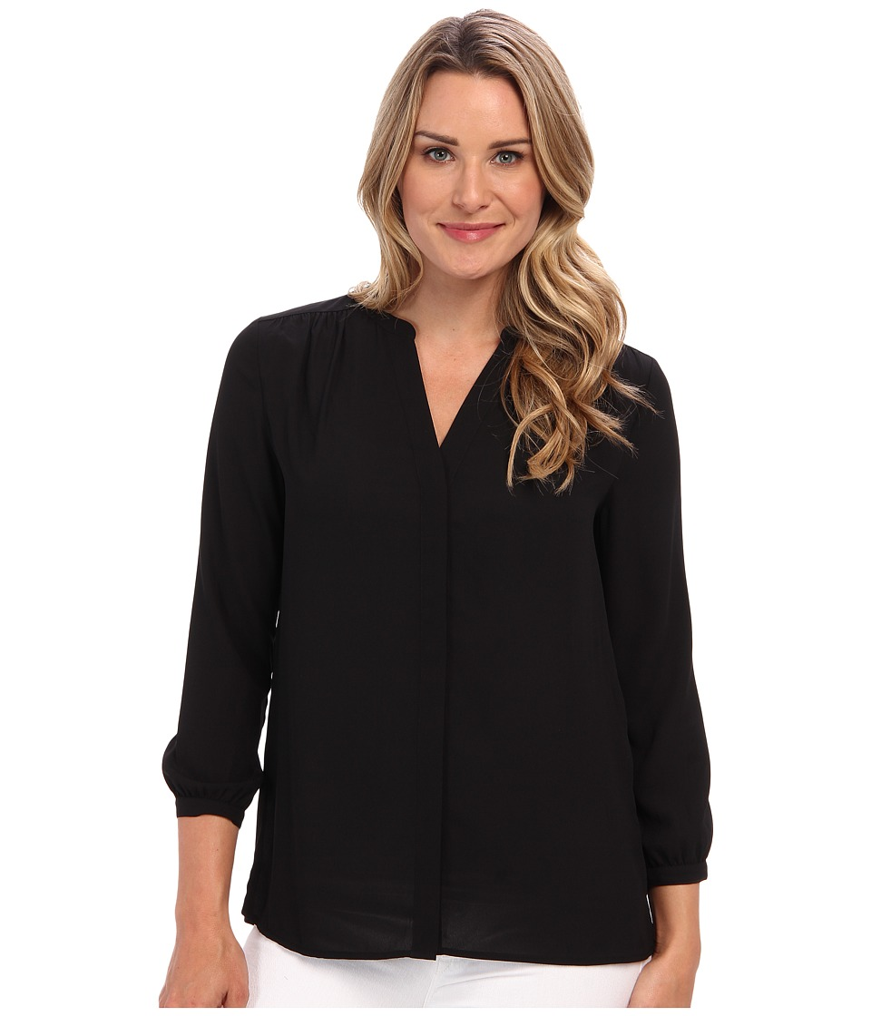 NYDJ - Solid Blouse w/ Pleated Back (Black) Women's Blouse