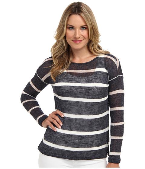 NYDJ - Stripe Twofer Knit (Peacoat/Sugar) Women's Long Sleeve Pullover