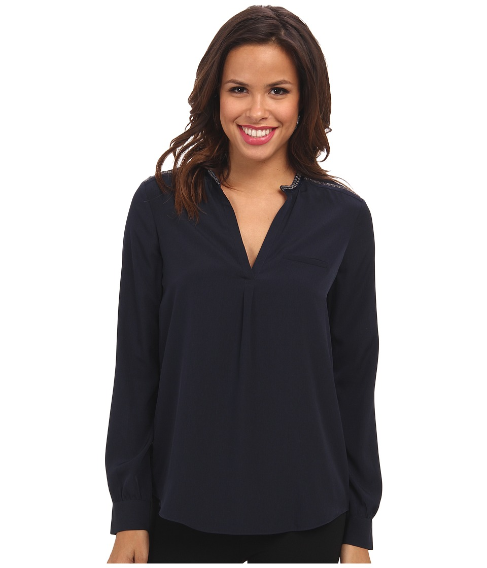 NYDJ - Studded Trim Woven Blouse (Peacoat) Women's Blouse