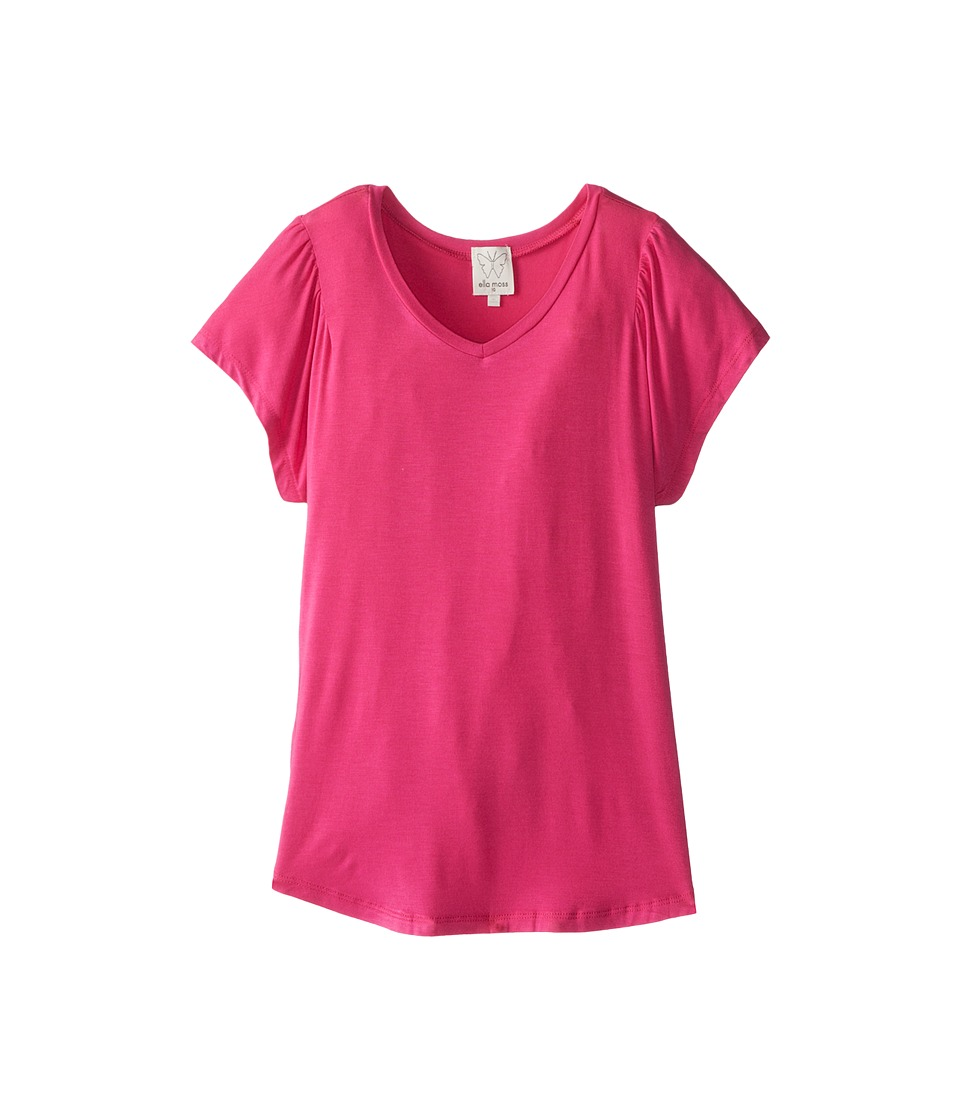 Ella Moss Girl - Ella Loves Basic S/S Tee (Big Kids) (Pink) Girl's Short Sleeve Pullover
