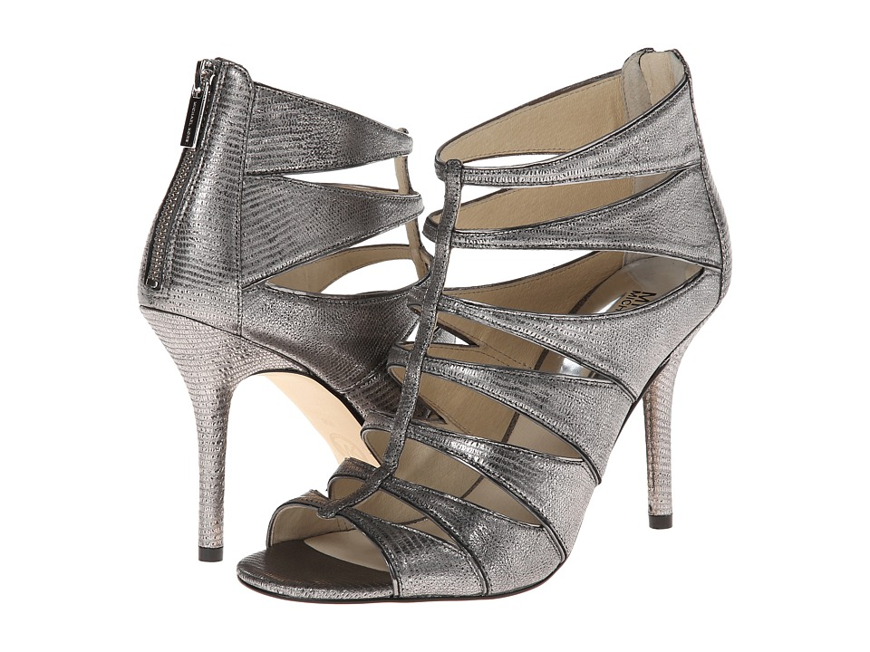 MICHAEL Michael Kors - Mavis Open Toe (Nickel Metallic Python/Mirror Metallic) Women's Toe Open Shoes