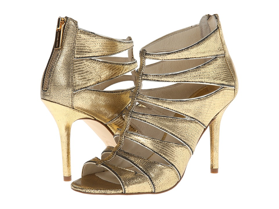 MICHAEL Michael Kors - Mavis Open Toe (Pale Gold Metallic Python/Mirror Metallic) Women's Toe Open Shoes