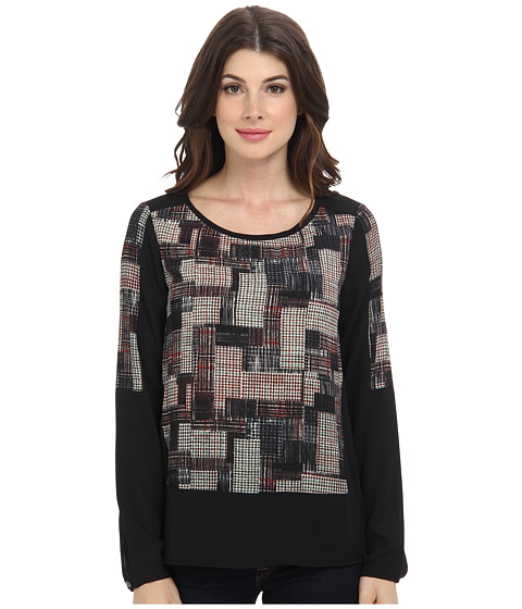 NYDJ - Patchwork Houndstooth Top (Black/Multi) Women