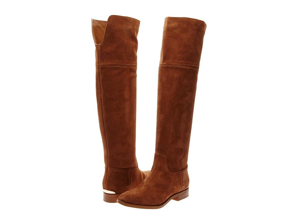 MICHAEL Michael Kors - Regina Flat Boot (Dark Caramel Sport Suede) Women's Boots