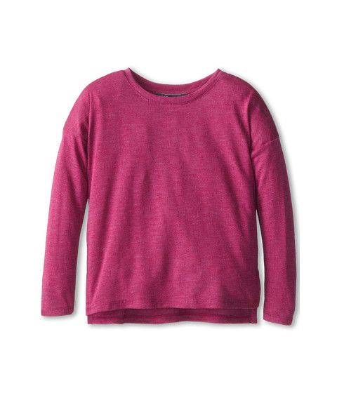 Vince Kids - L/S Space Dye Side Split (Little Kids) (Fuchsia Heather) Girl's Long Sleeve Pullover