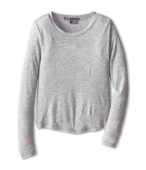 Vince Kids - L/S Shirt Tail Tee (Little Kids) (Heather Grey) Girl's Long Sleeve Pullover