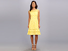 Adrianna Papell Cutaway Sleeve Shift Lace (Daffodil) Women's Dress