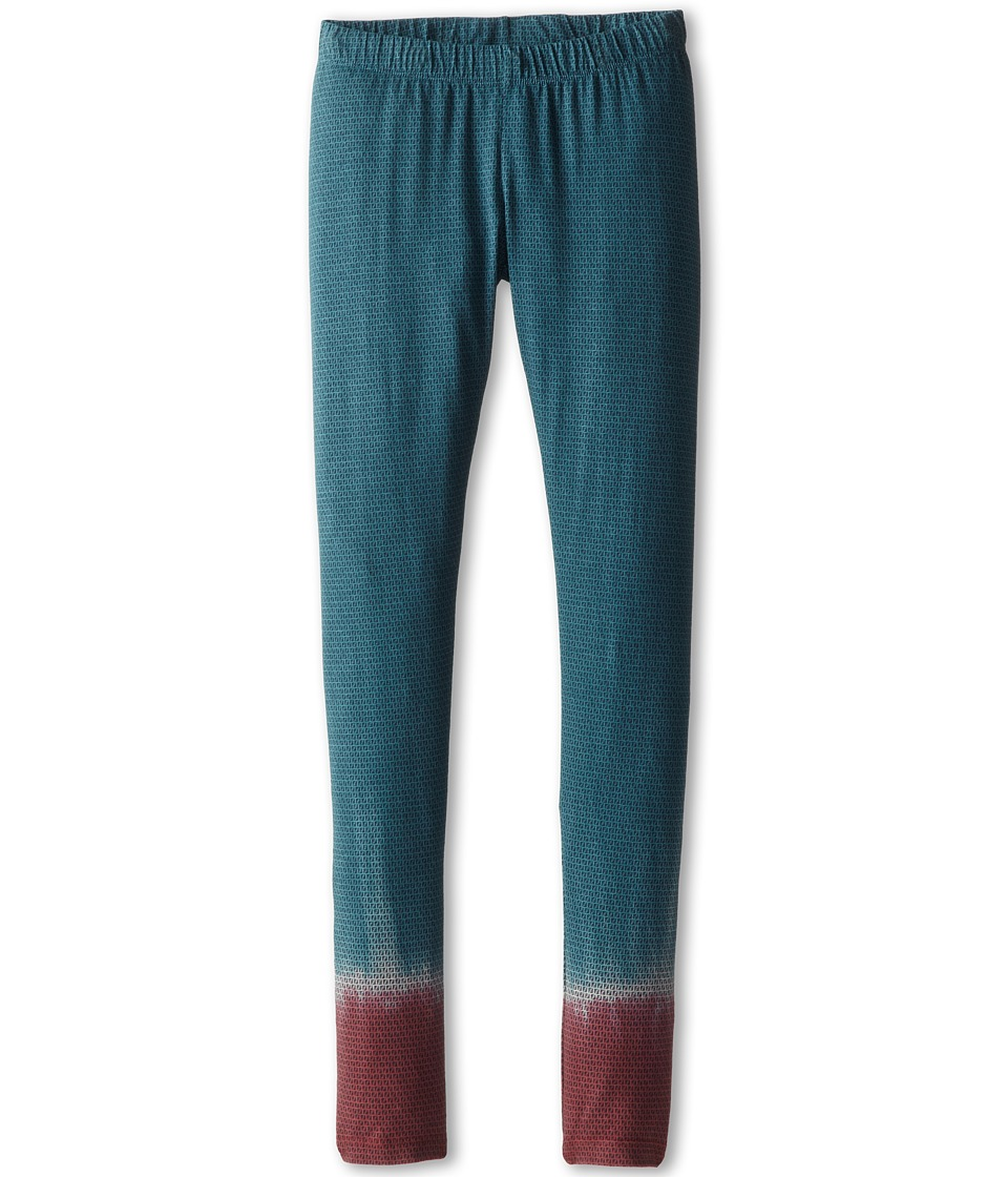 Fendi Kids - Mini Logo Jersey Legging (Big Kids) (Teal Burgundy) Girl's Casual Pants