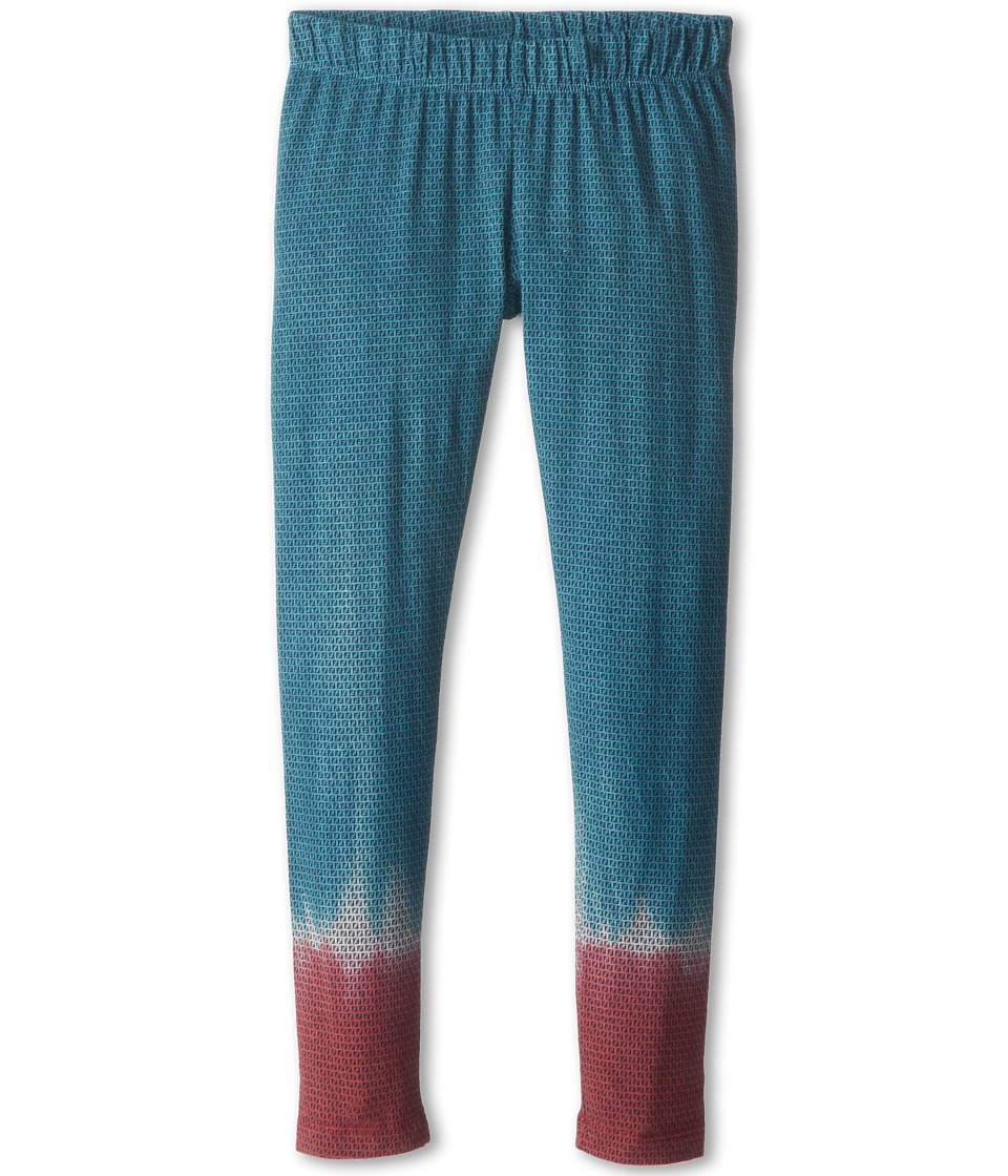 Fendi Kids - Mini Logo Jersey Legging (Little Kids/Big Kids) (Teal Burgundy) Girl's Casual Pants