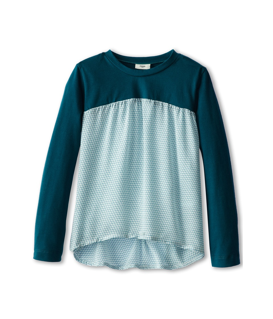 Fendi Kids - Jersey And Woven Flare Top (Toddler/Little Kids) (Teal) Girl's Long Sleeve Pullover