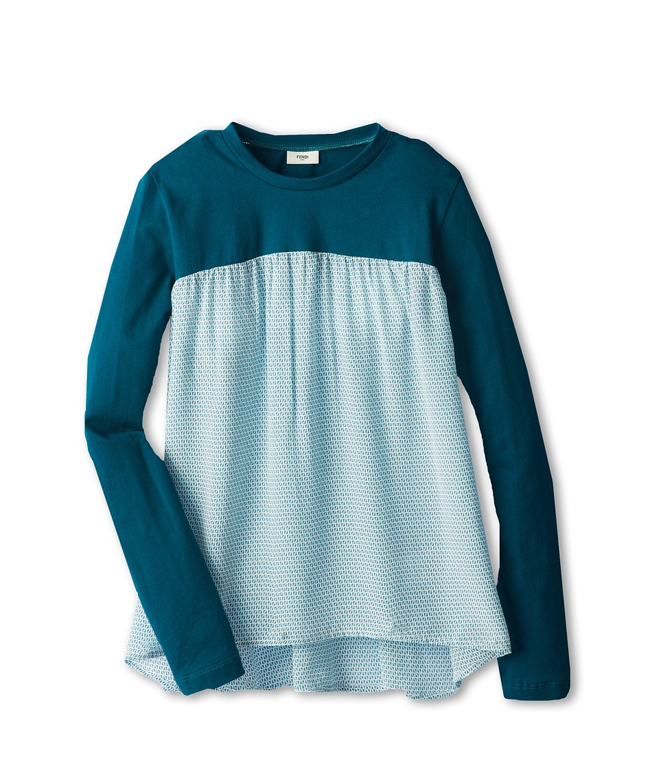 Fendi Kids - Jersey And Woven Flare Top (Little Kids/Big Kids) (Teal) Girl's Long Sleeve Pullover