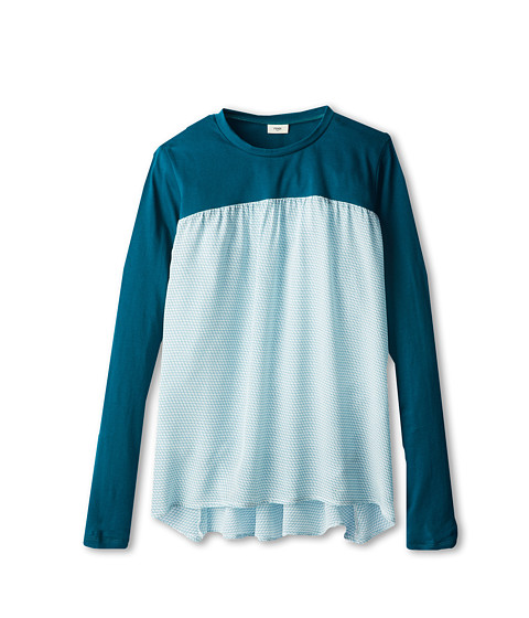 Fendi Kids - Jersey And Woven Flare Top (Big Kids) (Teal) Girl