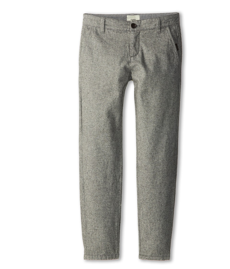 Fendi Kids - Flannel Herringbone Trouser (Little Kids/Big Kids) (Grey) Boy