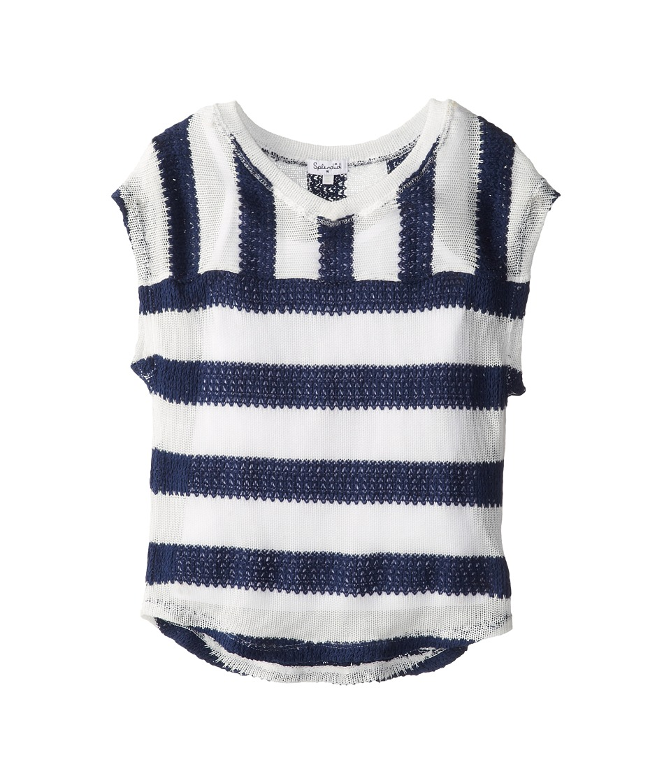 Splendid Littles - Rugby Stripe Loose Knit Top And Cami Sweater (Big Kid) (Navy) Girl's Sweater