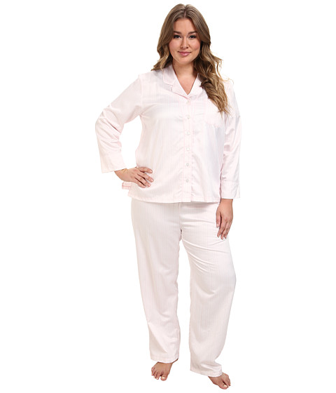 Carole Hochman - Plus Brush Back Satin Pajama (Hampton Stripe Pink) Women