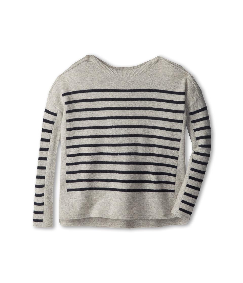 Vince Kids - Ribbed Shoulder Tunic (Big Kids) (Grey Heather) Girl's Long Sleeve Pullover