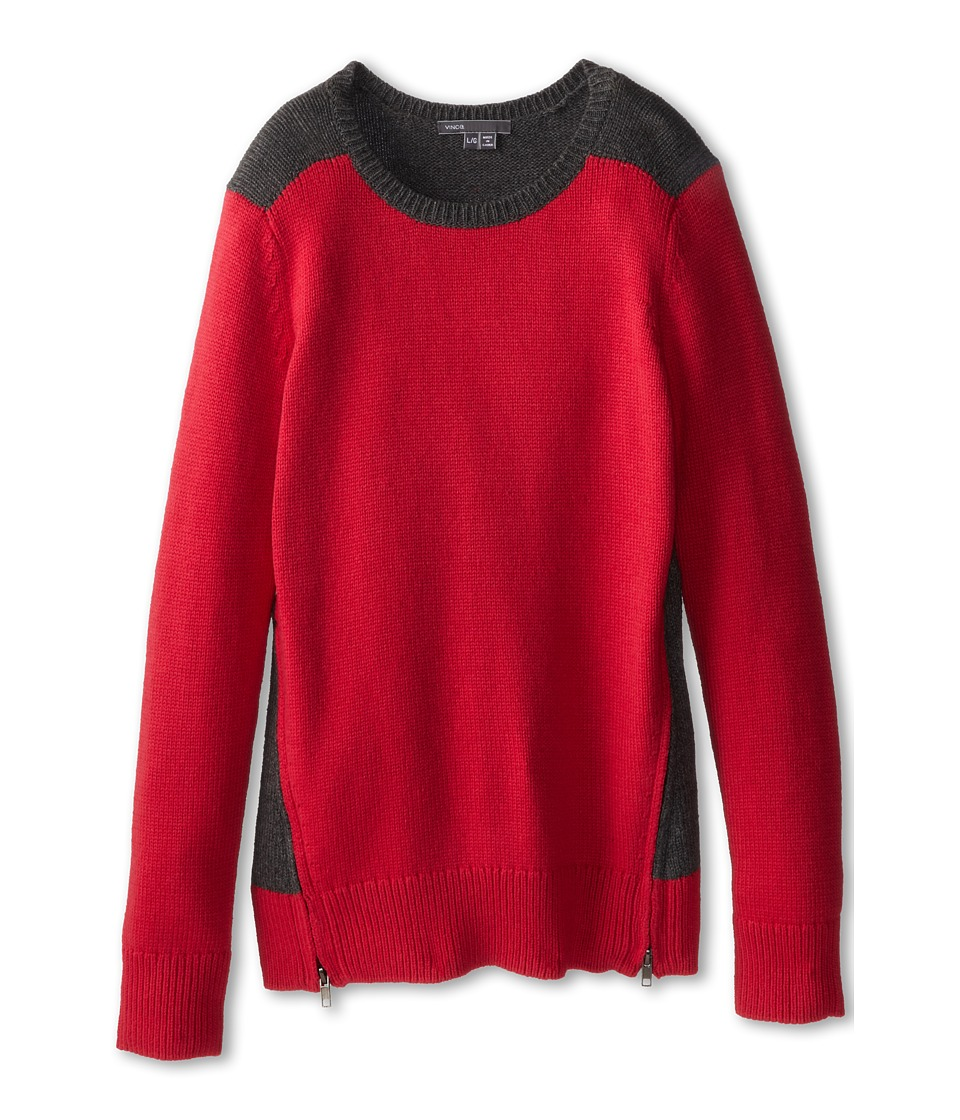 Vince Kids - Side Zip Colorblock Crew Neck (Big Kids) (Raspberry) Girl's Long Sleeve Pullover