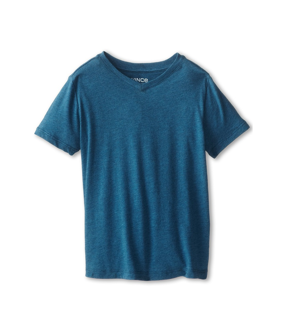 Vince Kids - Favorite Heathered V-Neck Tee (Little Kids) (Bluesteel Heather) Boy's Short Sleeve Pullover
