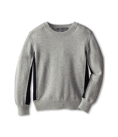 Vince Kids - L/S Colorblock Crew Neck (Little Kids) (Heather Grey) Boy's Long Sleeve Pullover
