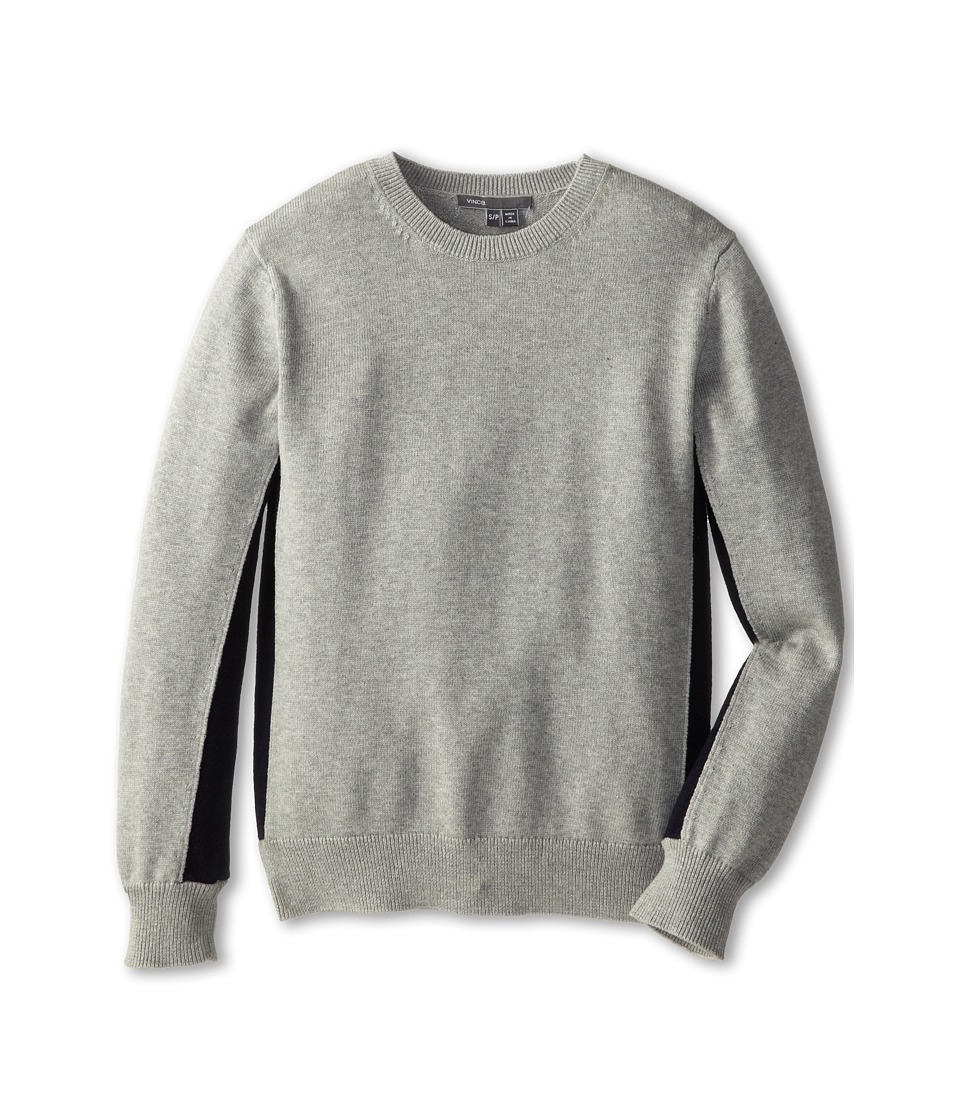 Vince Kids - L/S Colorblock Crew Neck (Big Kids) (Heather Grey) Boy's Long Sleeve Pullover