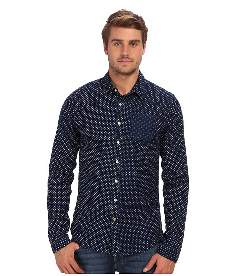 Scotch & Soda - Premium Indigo Printed Shirt (Indigo) Men's Long Sleeve Button Up